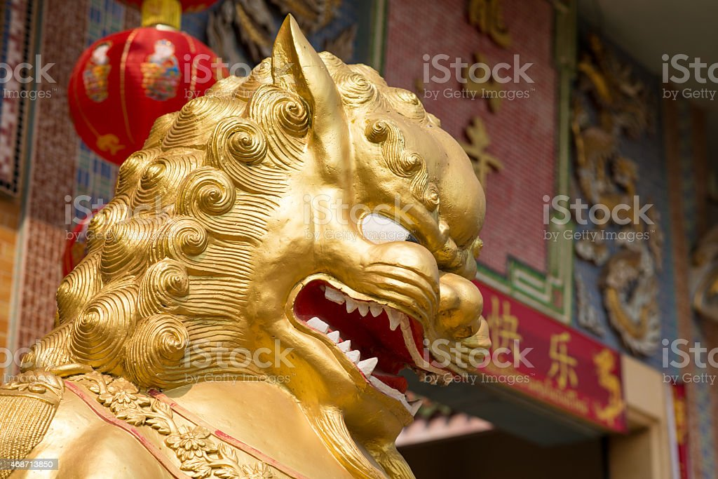 Guarding Lion Statue stock photo