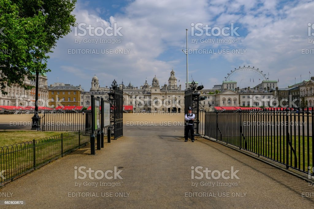 Guarding the entrance to Horse Guards Parade stock photo
