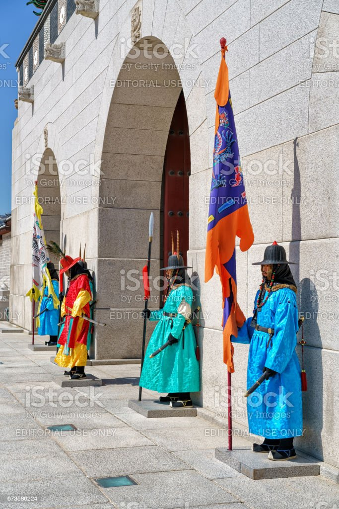 Guards after changing guard ceremony at Gyeongbokgung Palace in Seoul stock photo