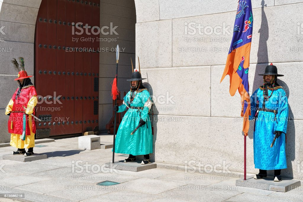 Guards after changing guard ceremony near Gyeongbokgung Palace in Seoul stock photo
