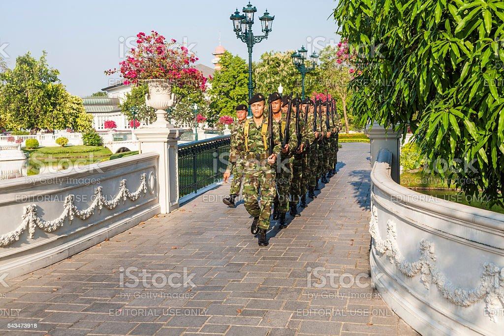 Guards are changing at Bang Pa-In Palace near Ajutthaya stock photo