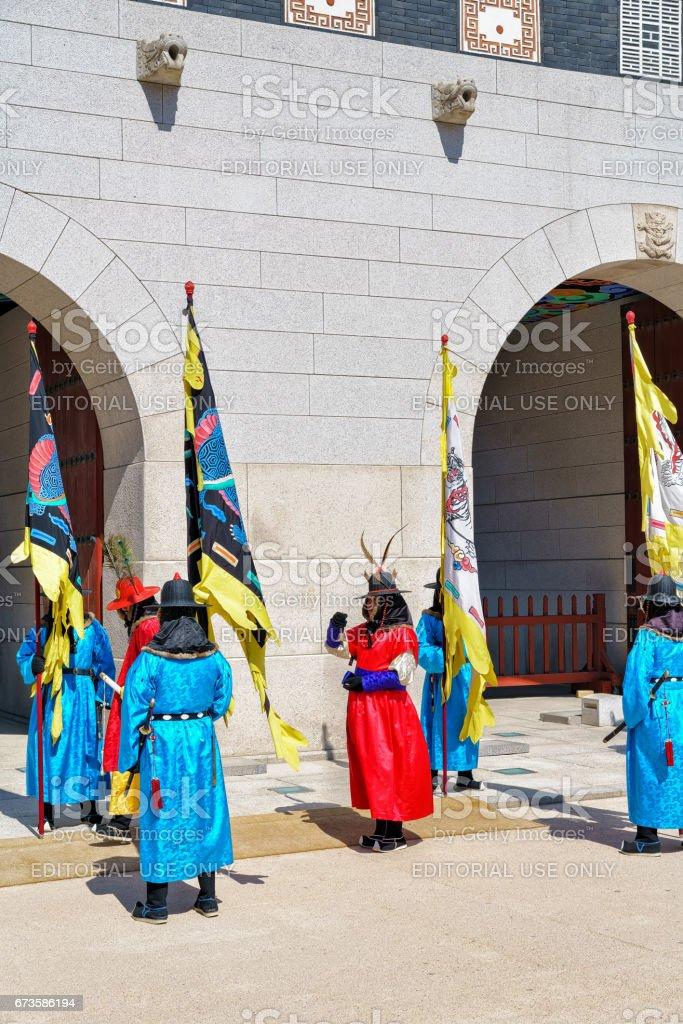 Guards at changing guard ceremony at Gyeongbokgung Palace Seoul stock photo