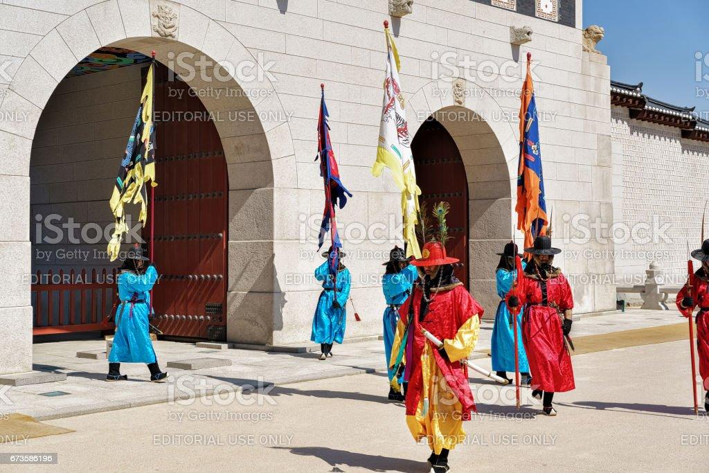 Guards at changing guard ceremony of Seoul Gyeongbokgung Palace stock photo