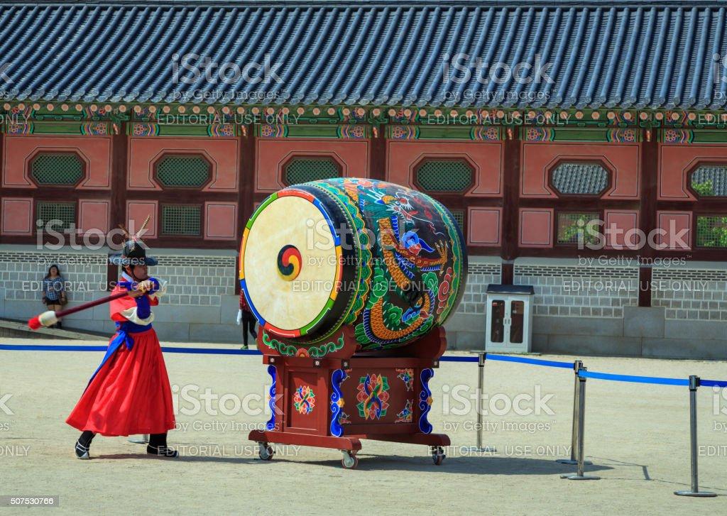Guards at Gwanghwamun Gate stock photo
