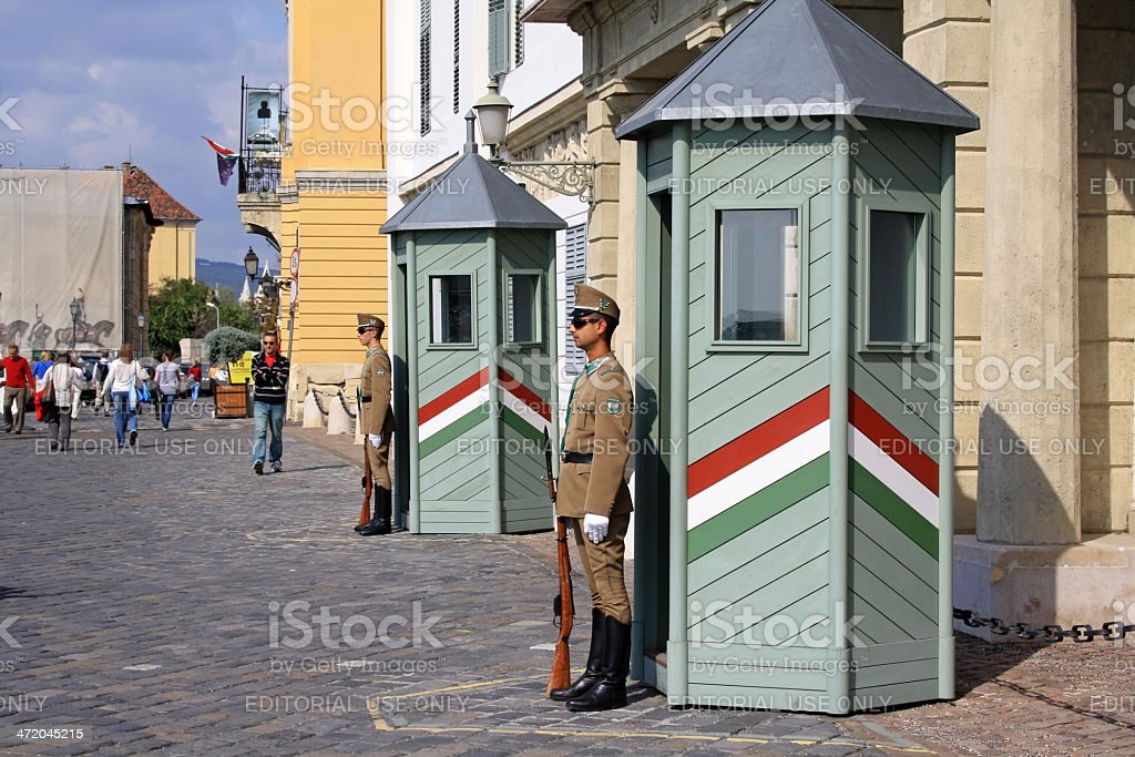 Guards at the President Palace in Budapest royalty-free stock photo