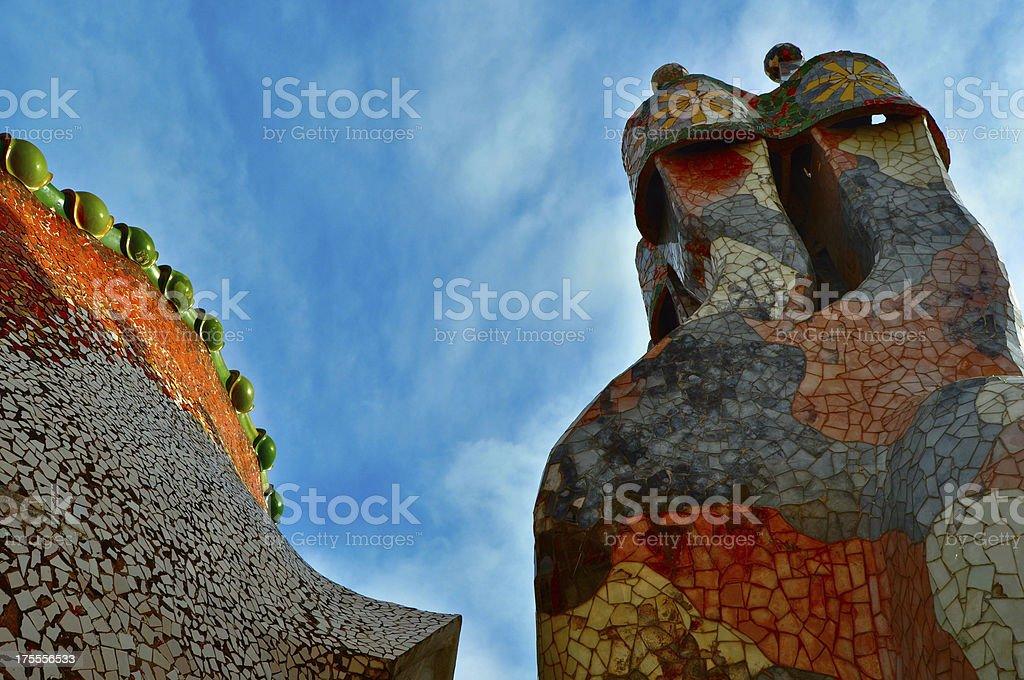 Guards Casa Batllo Roof Top royalty-free stock photo