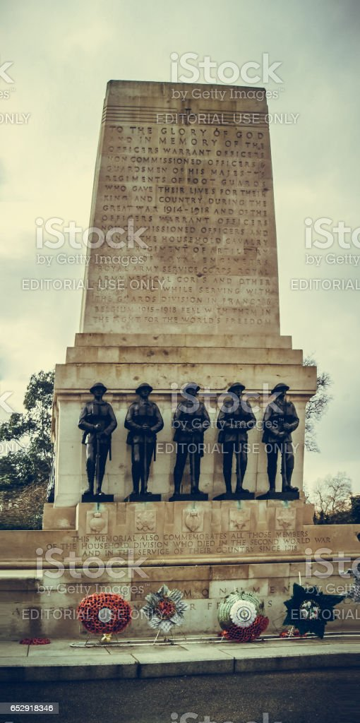 London, UK - February 25, 2016: Guards Division Memorial honours dead soldiers of 5 regiments of World Wars - St. James's Park, Horse Guards Road, London, UK stock photo