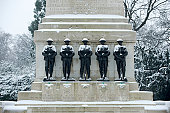 Guards memorial in the snow