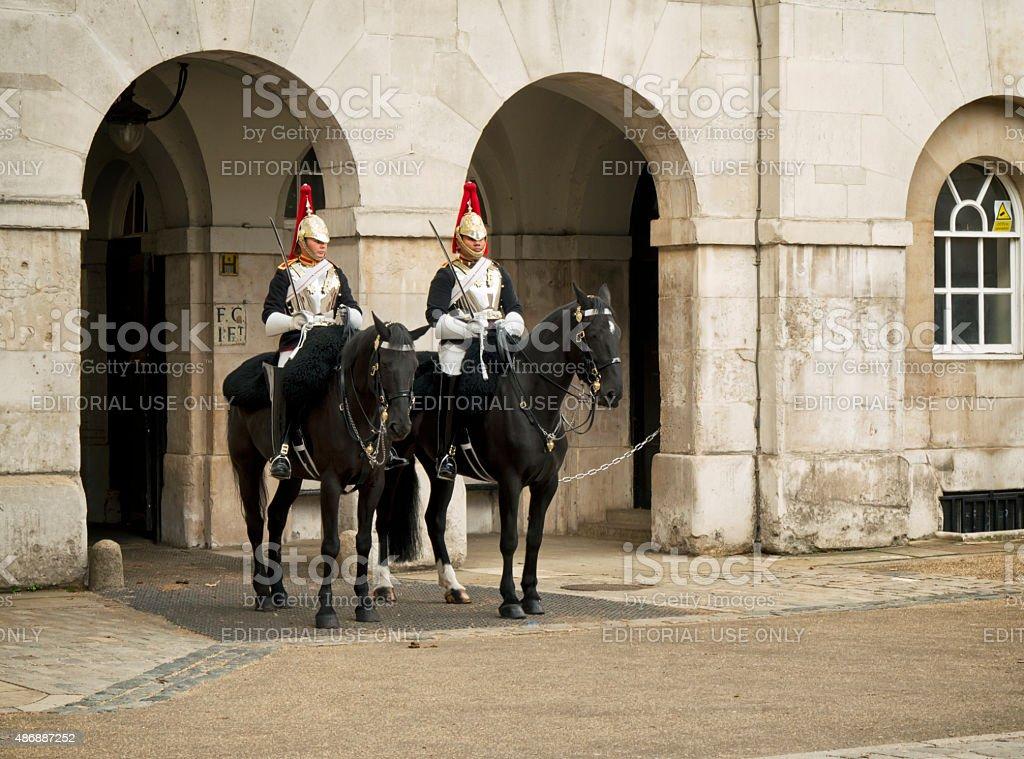 Guards on horseback, Horse Guards Parade stock photo