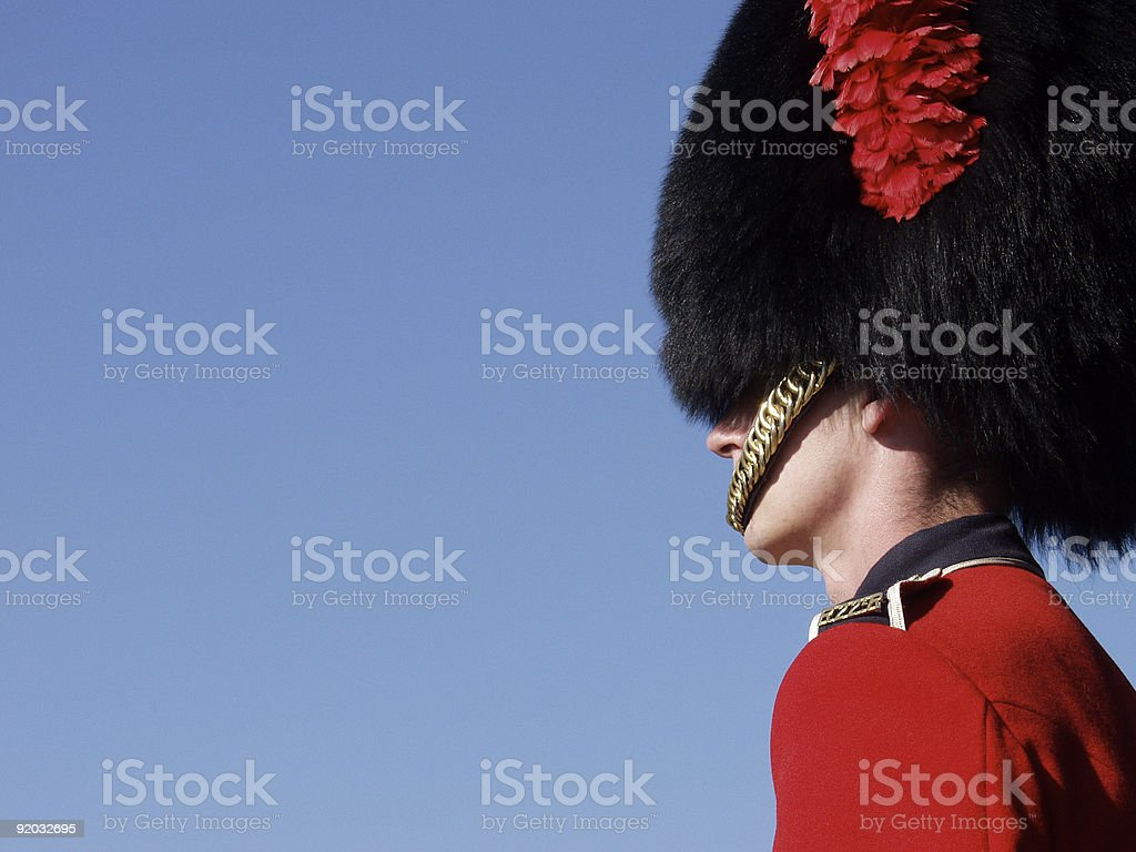 Guardsman in full red uniform at the Quebec Citadel royalty-free stock photo