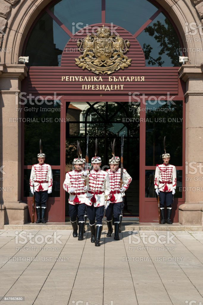 Guardsmen at the entrance to the residence of the President of Bulgaria stock photo