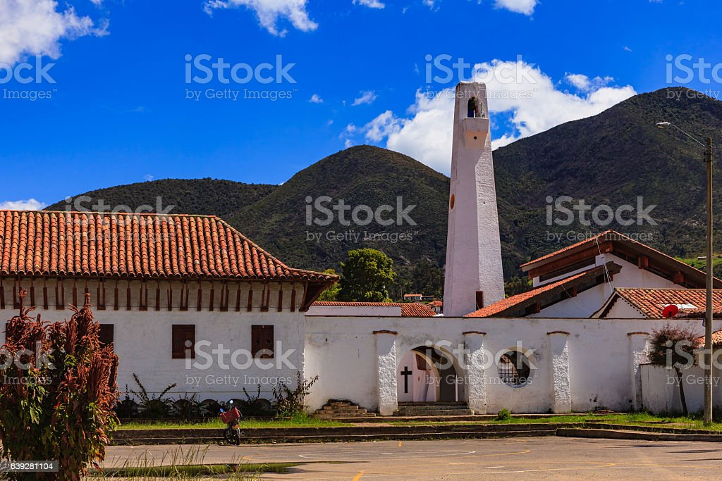 Guatavita, Colombia: Looking from Outside the Main Plaza towards the Belfry stock photo