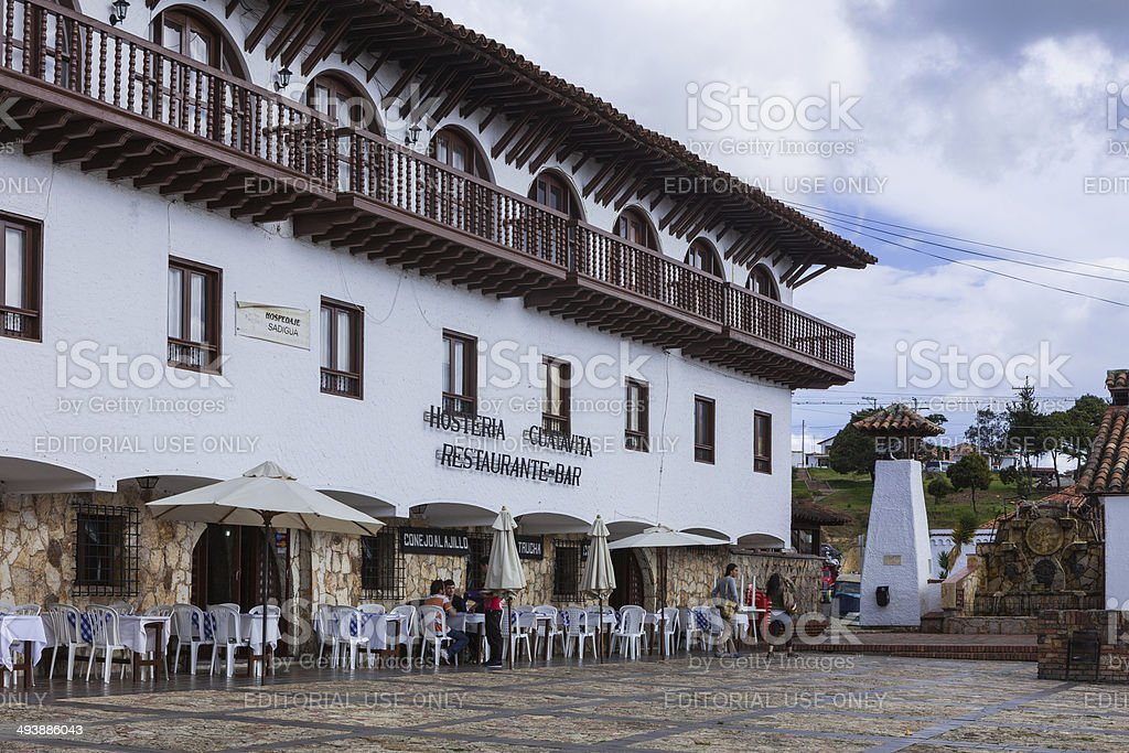 Guatavita, Colombia: Restaurant on plaza; colonial style architecture royalty-free stock photo