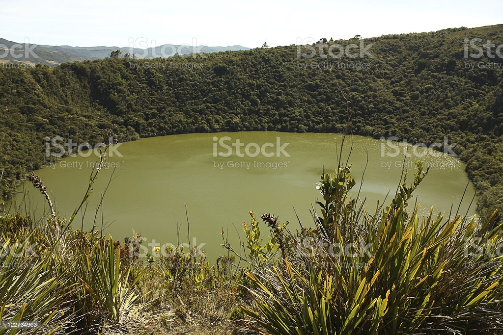 Guatavita volcanic lagoon, Cundinamarca, Colombia stock photo