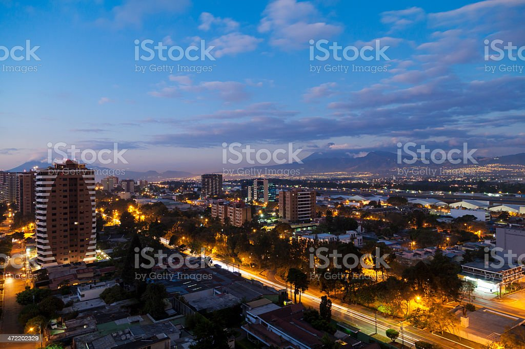 Guatemala City by dusk stock photo