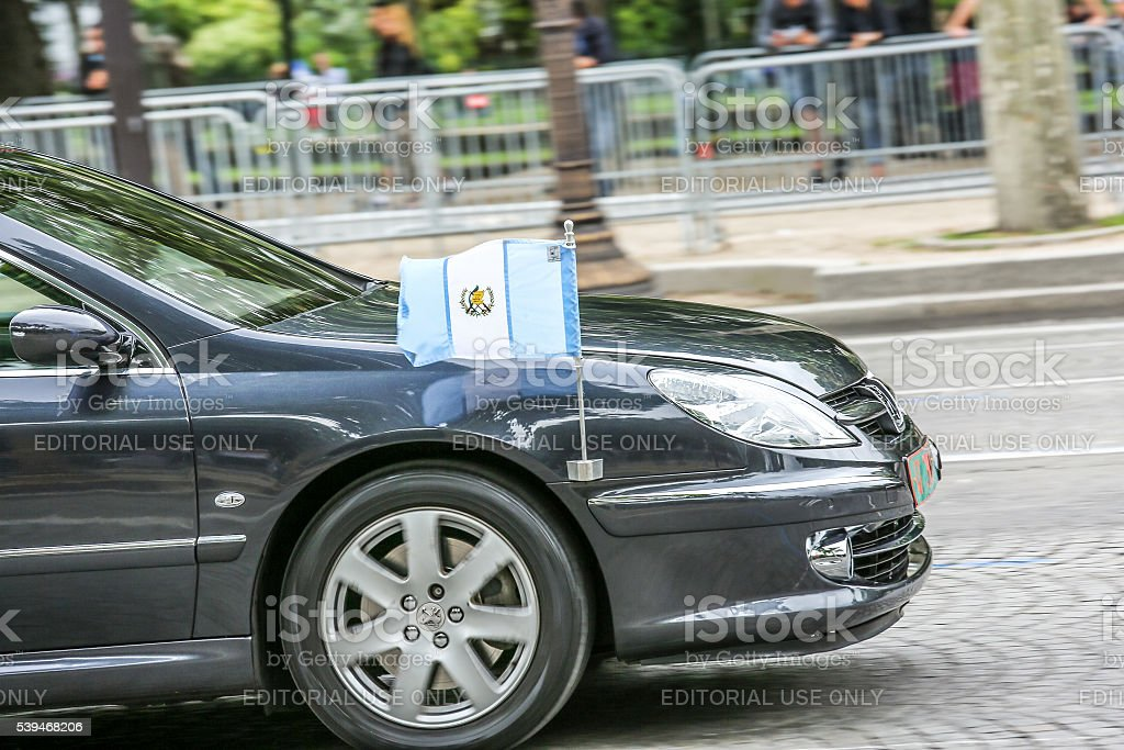 Guatemala Diplomatic car during Military parade stock photo