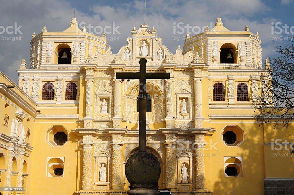Guatemala, View on the colonial La Merced church in Antigua stock photo