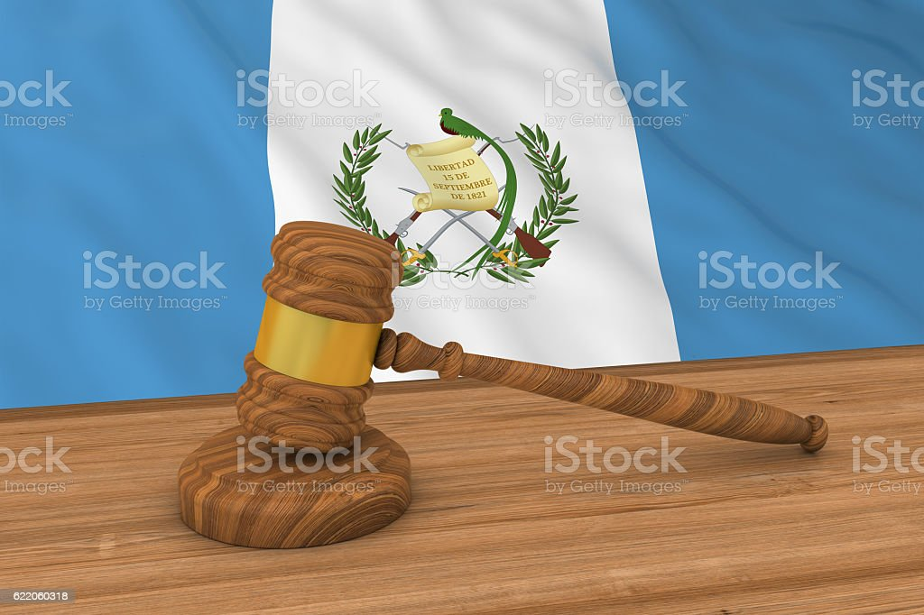 Guatemalan Law Concept - Flag of Guatemala Behind Judge's Gavel stock photo
