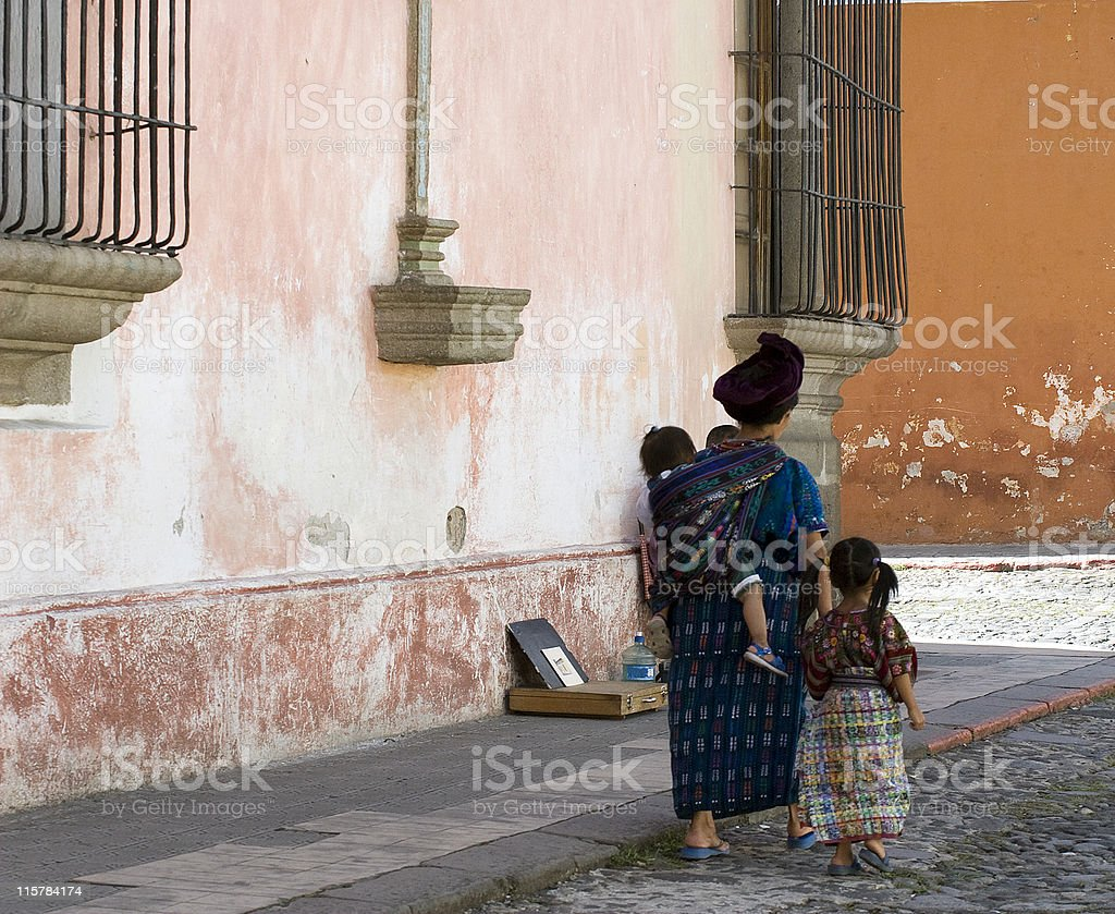 Guatemalan Mayan family stock photo