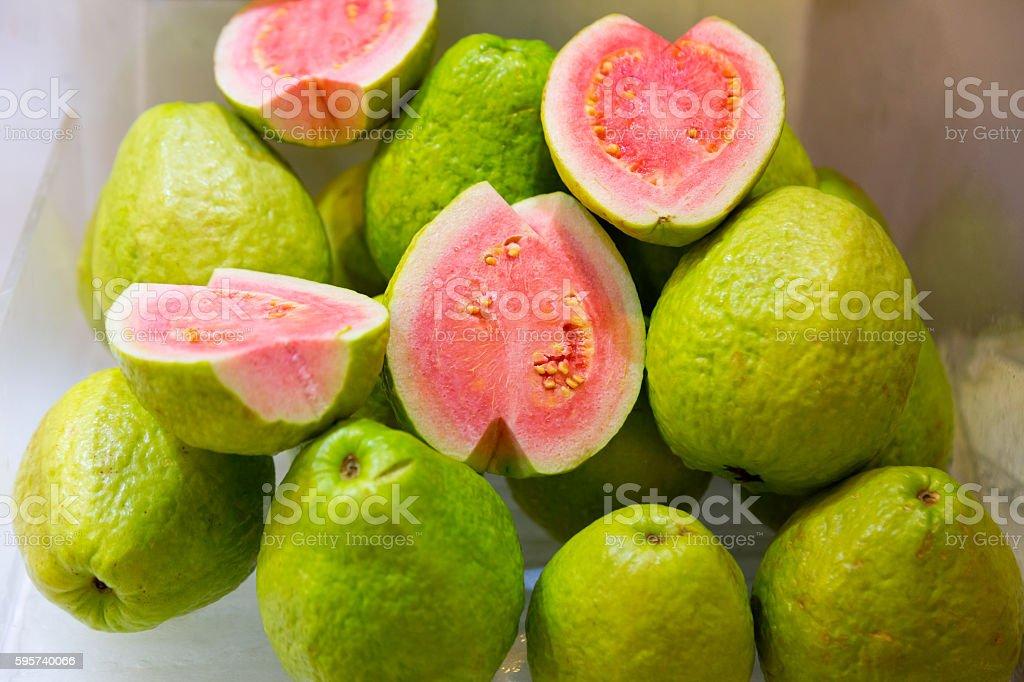 Guava fruits on display at a fresh market stock photo