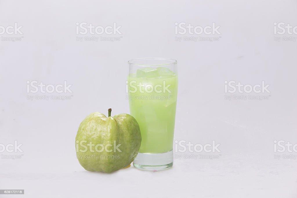 Guava icy fresh white backdrop. stock photo