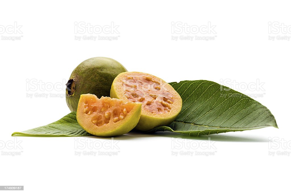 guava with real leaves stock photo
