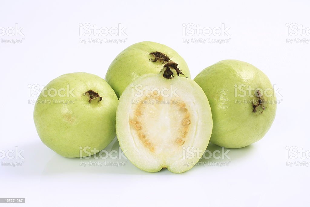 Guavas on the white background stock photo