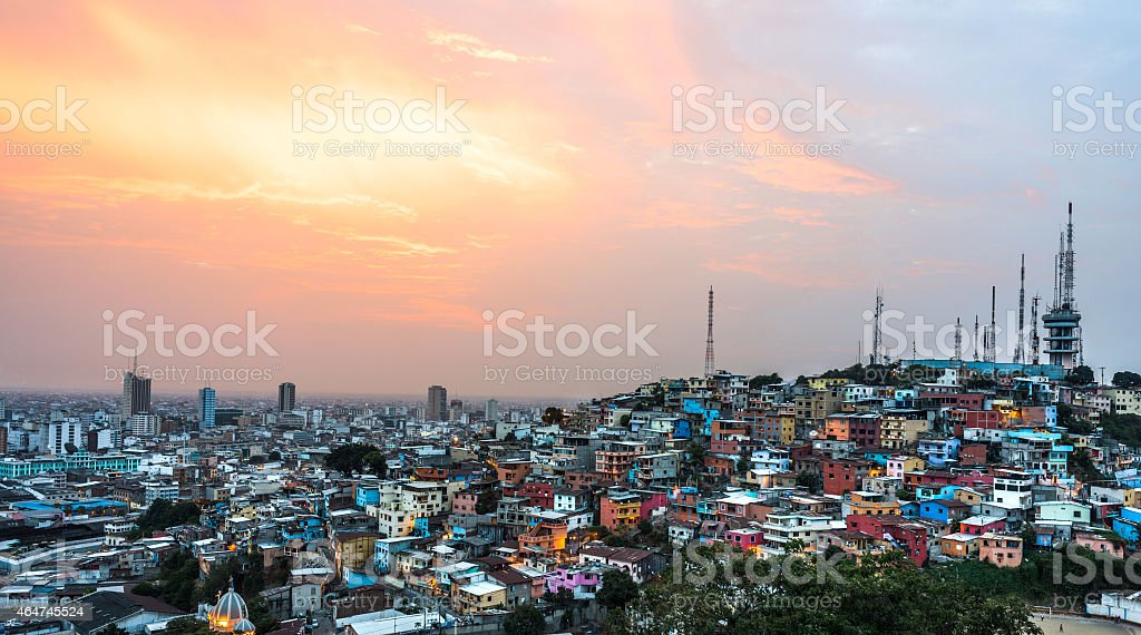 Guayaquil city at sunset stock photo