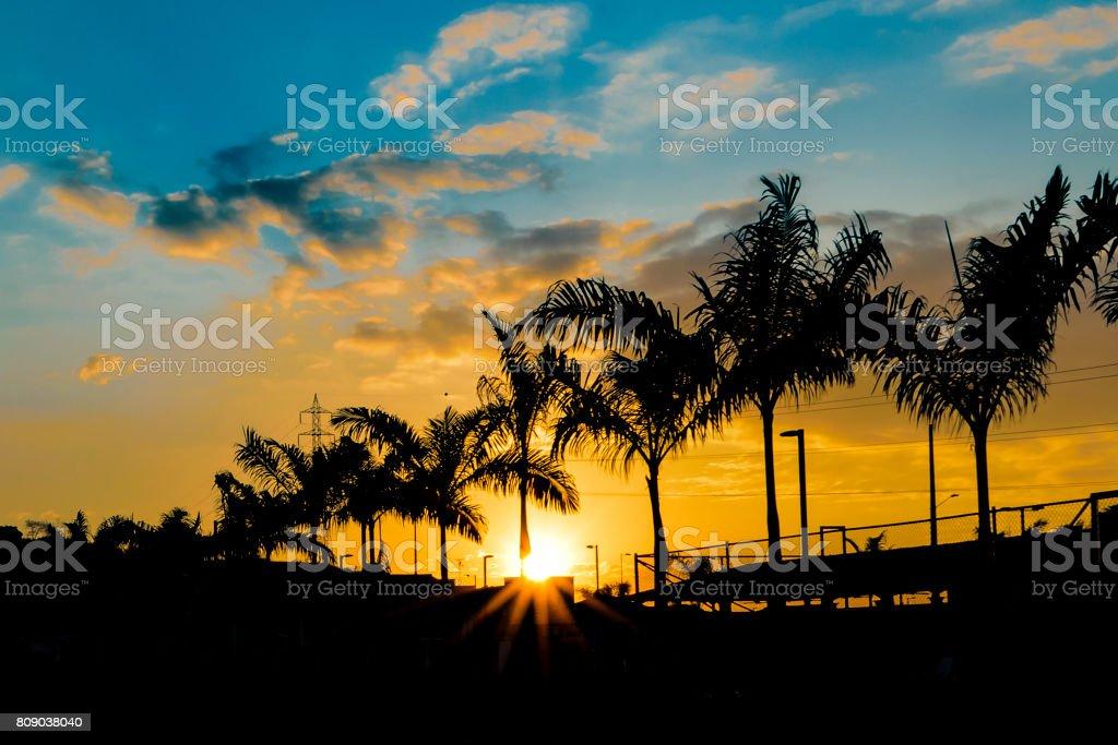 Guayaquil Outskirt Sunset Scene stock photo