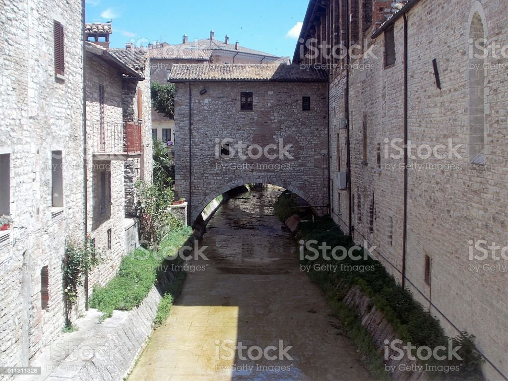 gubbio - architecture in the old town stock photo