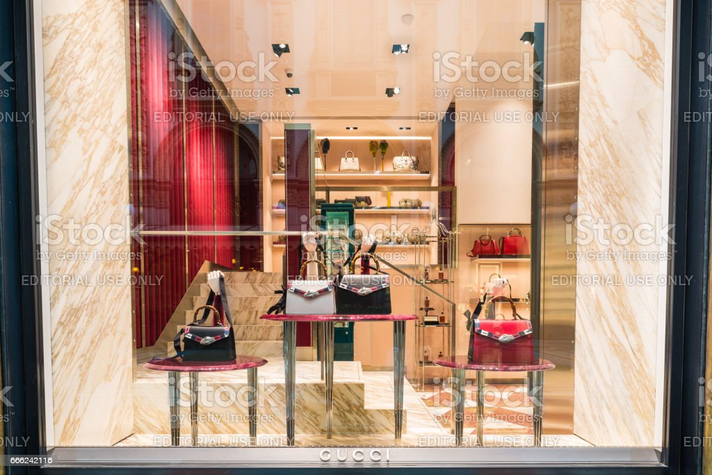 Gucci shop at the Gallery Vittorio Emanuele II (Piazza Duomo) in Milan center, Italy stock photo