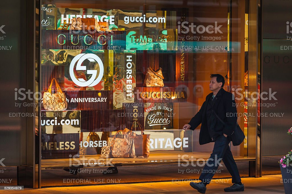 Gucci store luxury handbags window display Kowloon Hong Kong China stock photo