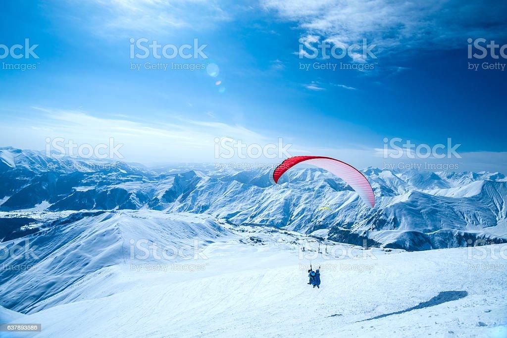 Gudauri ski resort. Paragliding stock photo