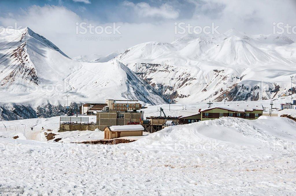 Gudauri winter resort in Georgia stock photo