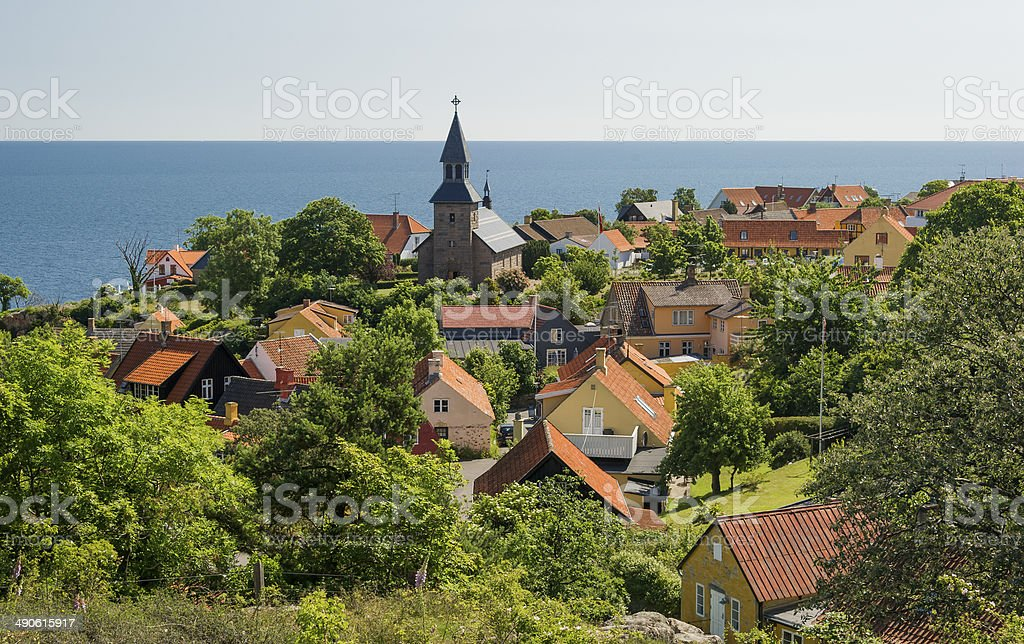 Gudhjem town on the island of Bornholm in Denmark stock photo