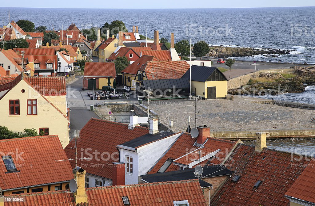 Gudhjem with red roofs by early morning, Bornholm Island, Denmark stock photo