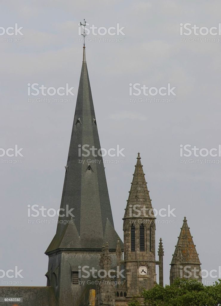 Guerande's three steeples stock photo