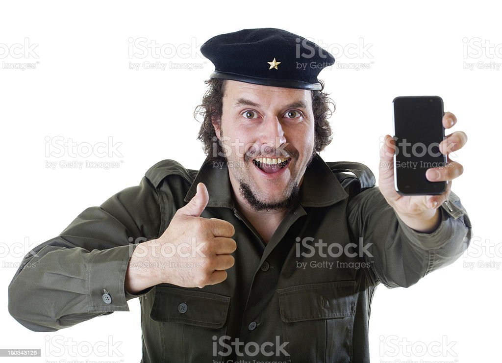 Guerilla with his cell phone stock photo