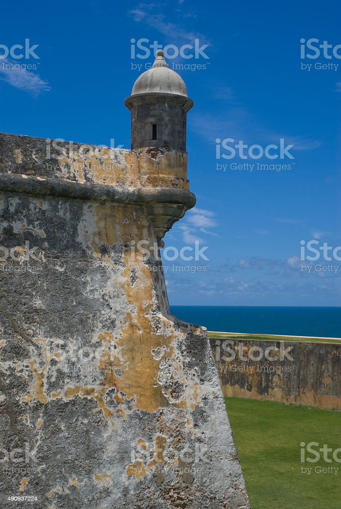 Guerite at old Spanish fort in San Juan, Puerto Rico stock photo