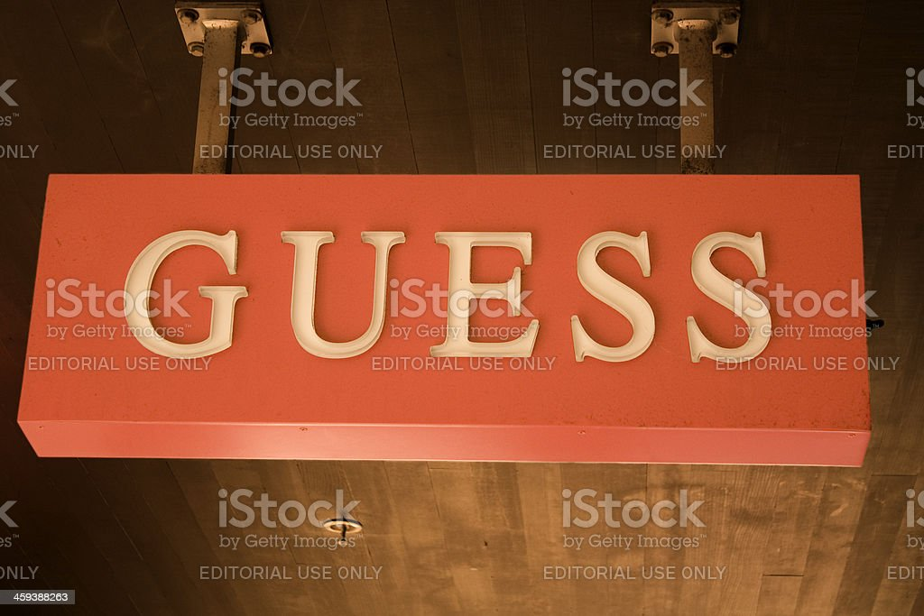 Guess sign stock photo