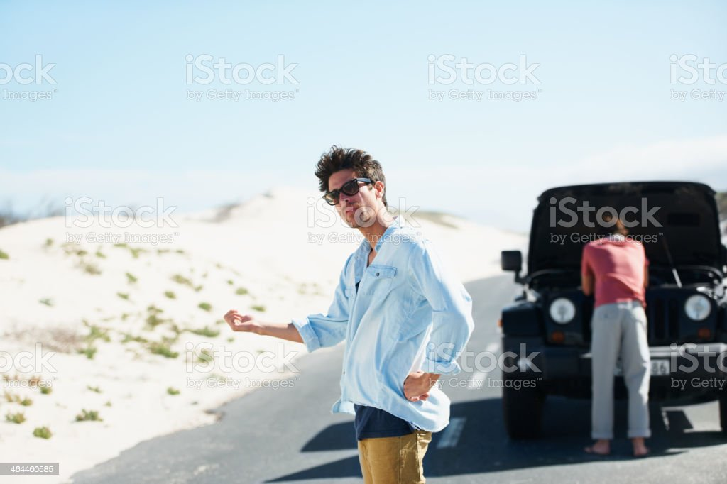 I guess we'll have to hitchhike royalty-free stock photo