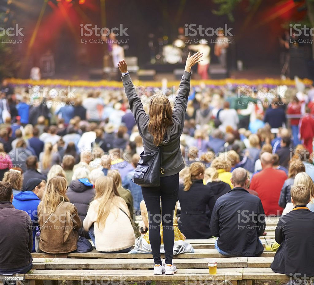 Guess who's her favourite band... stock photo