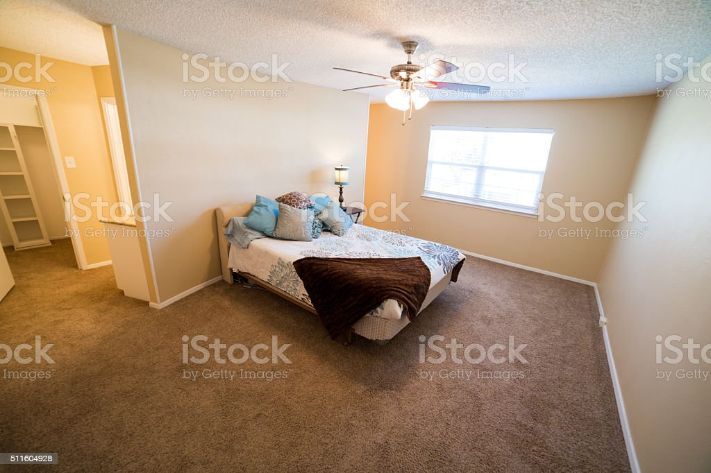 Guest bedroom in family home stock photo