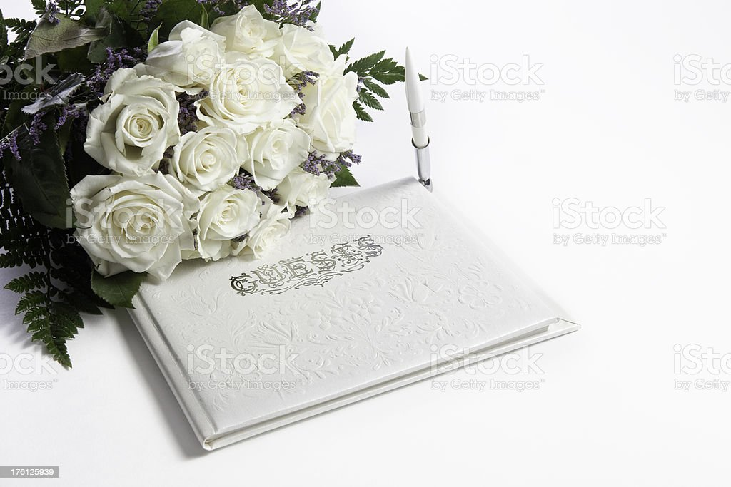 Guest Book &  Bouquet royalty-free stock photo
