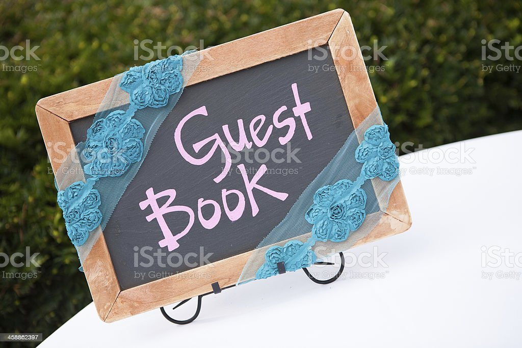 Guest Book sign stock photo