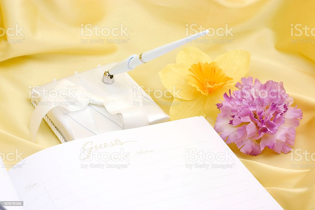 guest book with flowers royalty-free stock photo