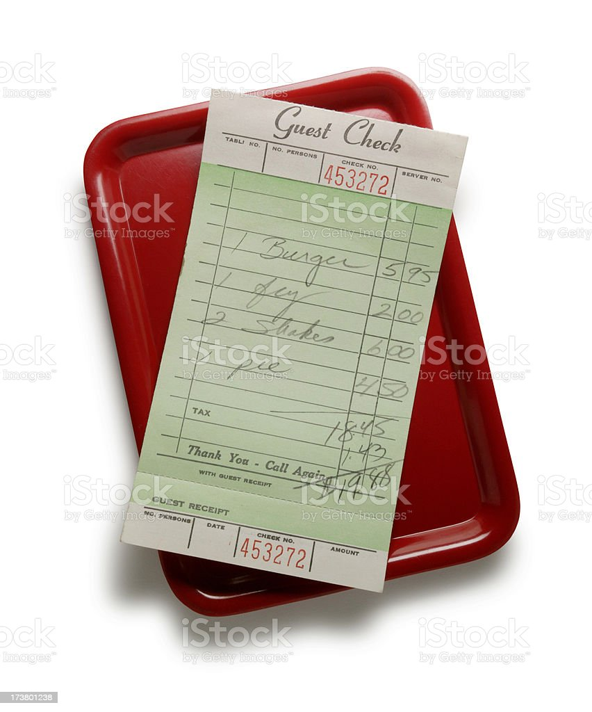 Guest check on red tray stock photo