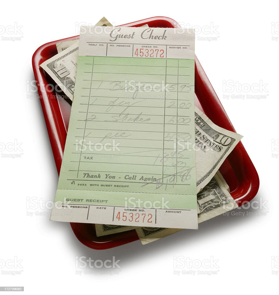 Guest Check on Tray royalty-free stock photo