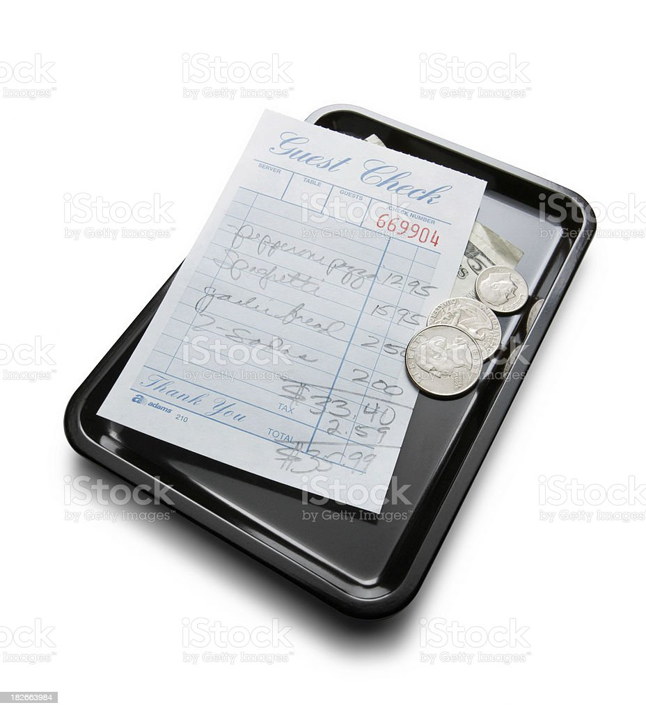 Guest Check on Tray stock photo