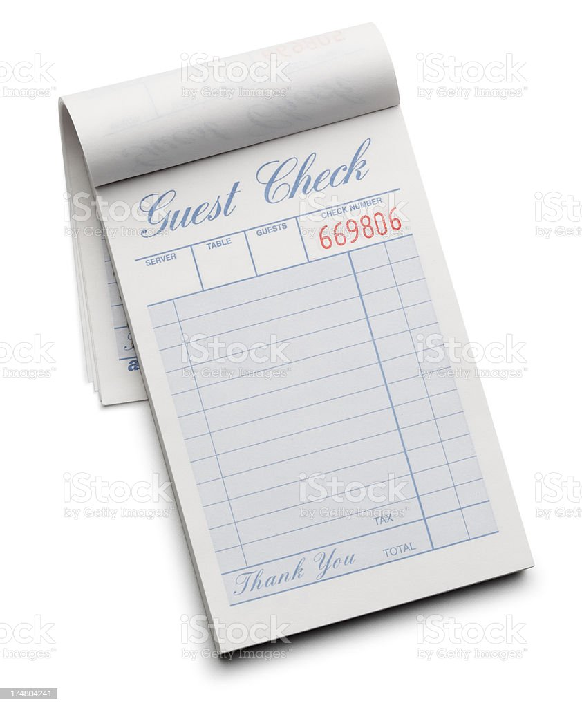 Guest Check stock photo